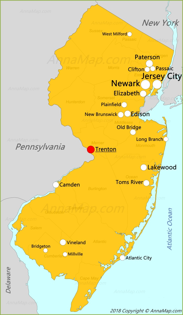 New Jersey Map | United States | Map of New Jersey - AnnaMap.com