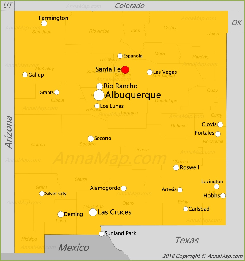 New Mexico Map | United States | Map of New Mexico - AnnaMap.com