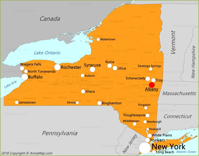 New York Map | United States | Map Of New York State - AnnaMap.com
