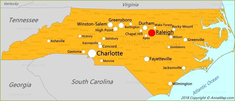 Карта Северной Каролины