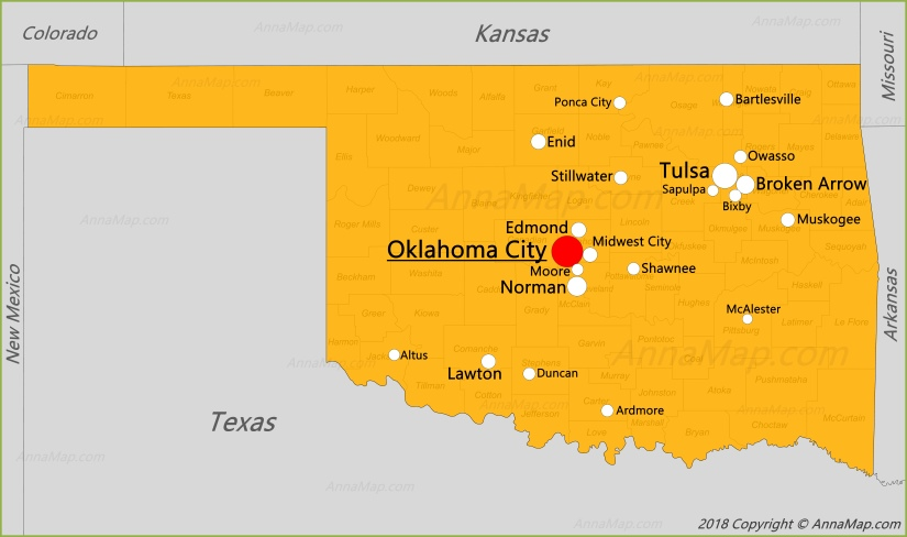 Oklahoma On Map Of United States.Oklahoma Map United States Map Of Oklahoma Annamap Com