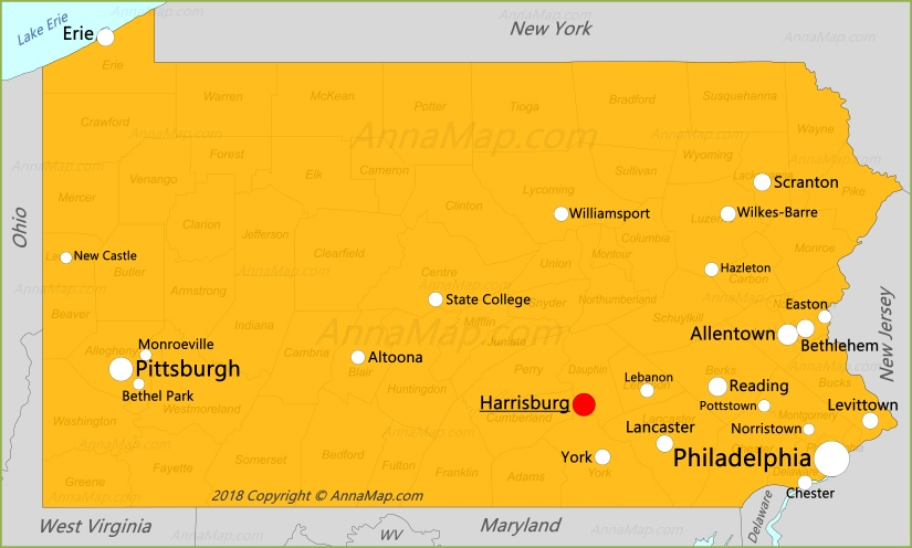 Карта Пенсильвании