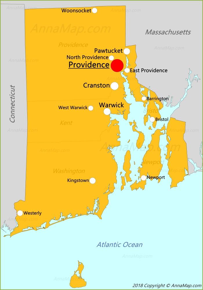 Rhode Island Map | United States | Map of Rhode Island - AnnaMap.com