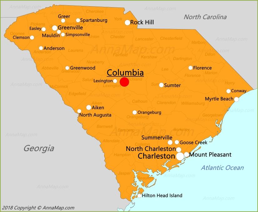 Карта Южной Каролины