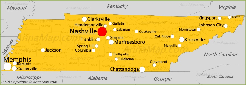 Tennessee Map United States Map Of Tennessee Annamapcom - Nashville-tn-on-us-map