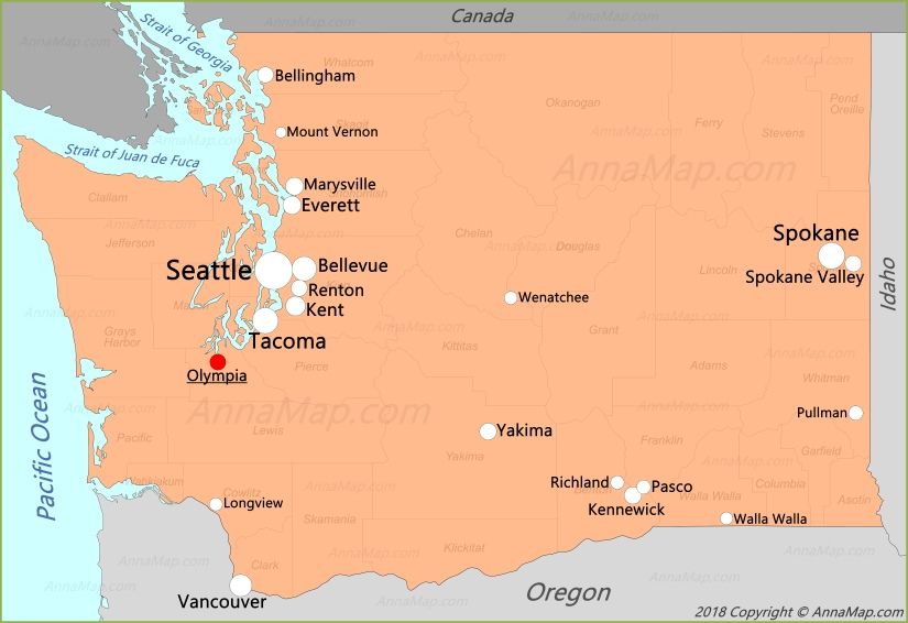 Карта штата Вашингтон