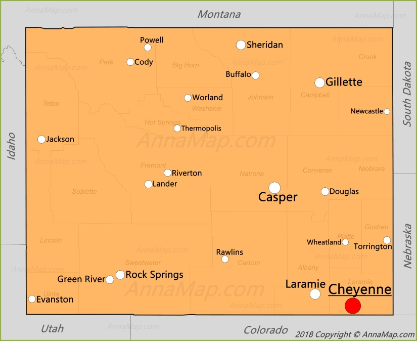 Wyoming Map | United States | Map of Wyoming - AnnaMap com