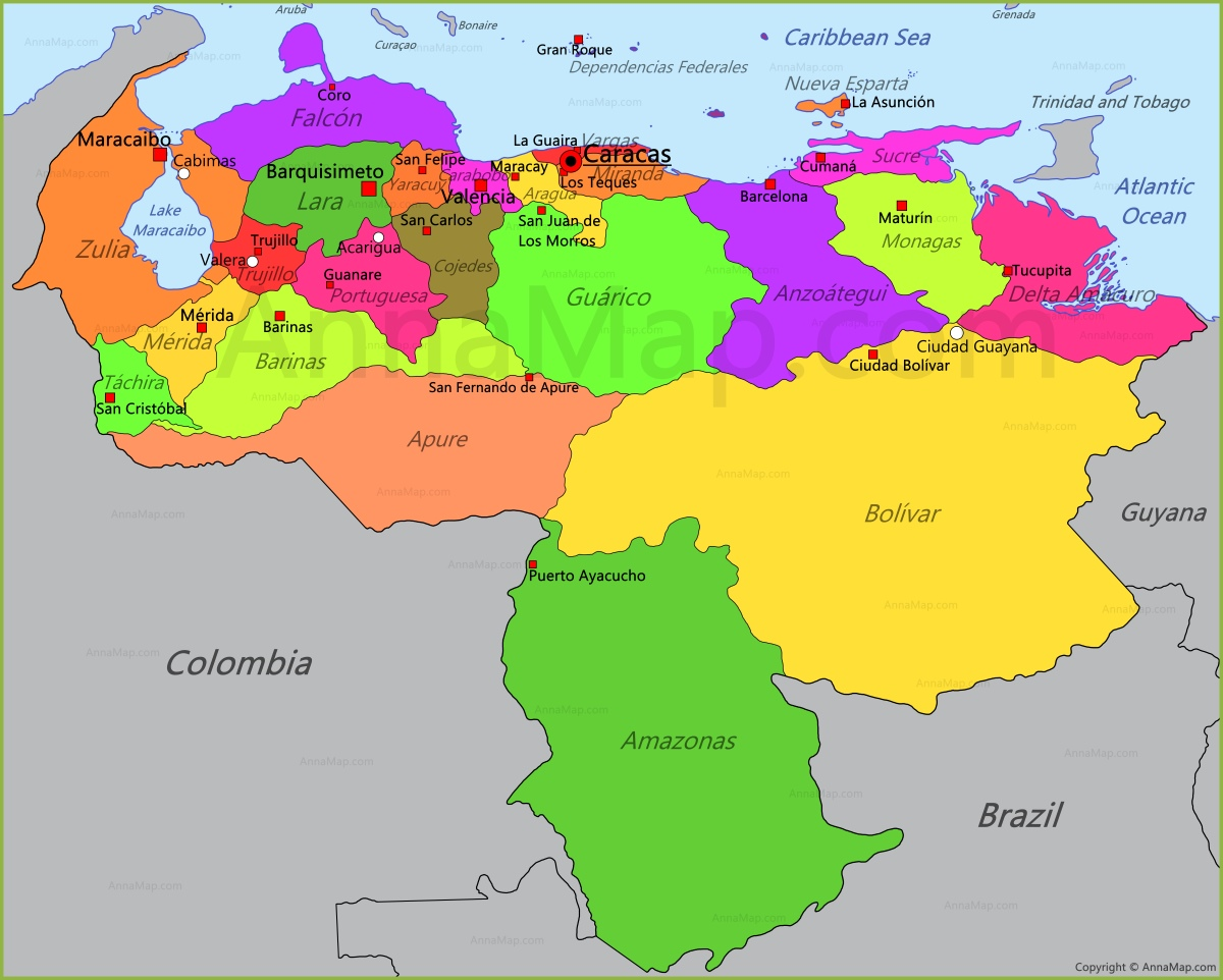 Venezuela Map Map of Venezuela AnnaMapcom