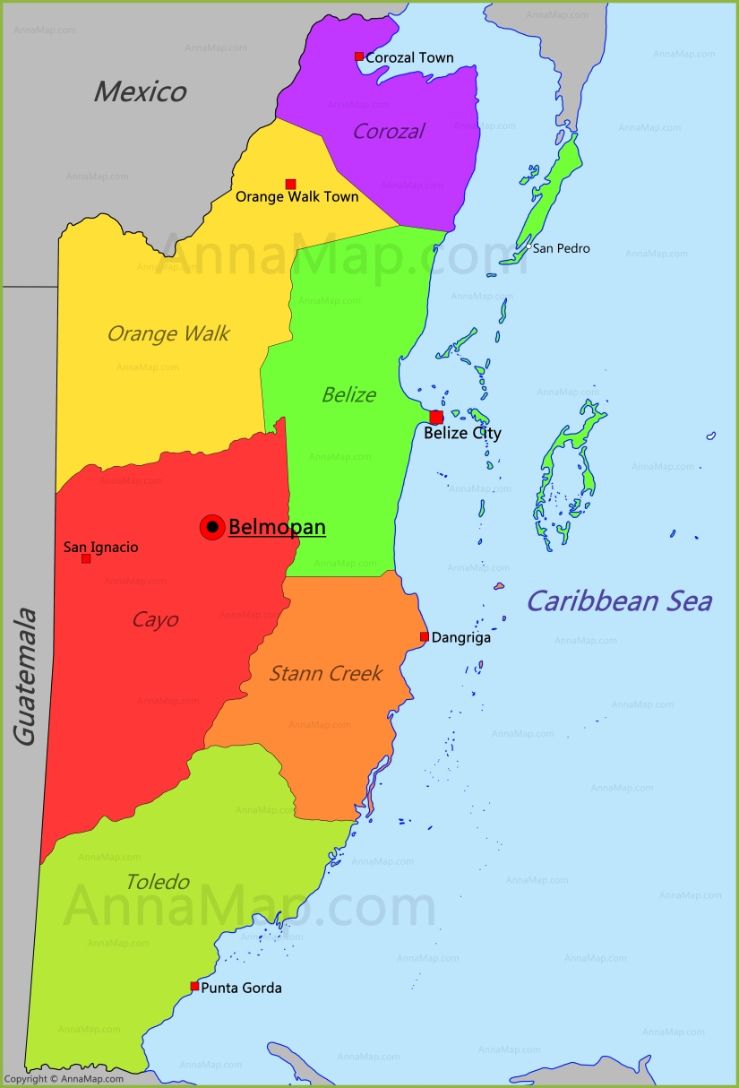 Belize Map Map Of Belize Annamap Com