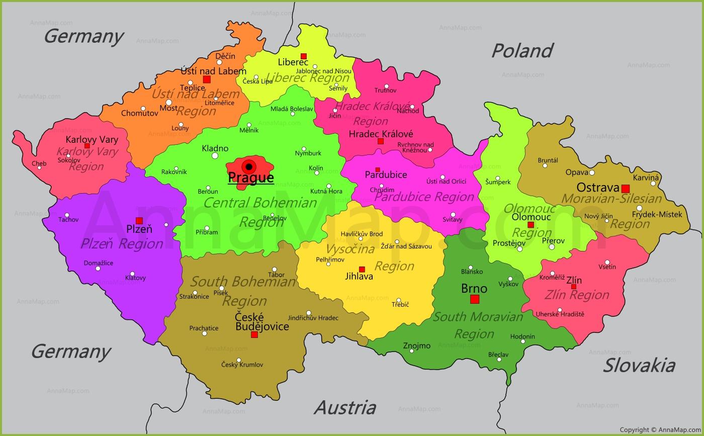 Map Of Czech Republic Czech Republic Map   Map of Czech Republic   AnnaMap.com Map Of Czech Republic