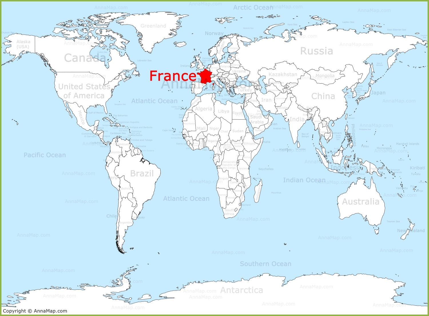 France On A World Map France on the World map   AnnaMap.com