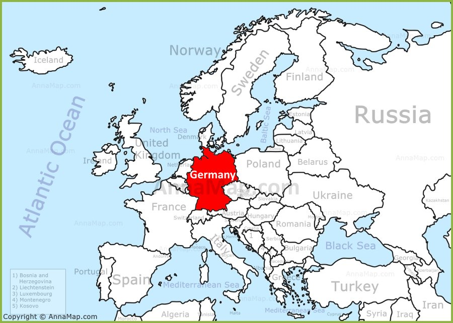 Germany On A Map Germany on the Europe map   AnnaMap.com