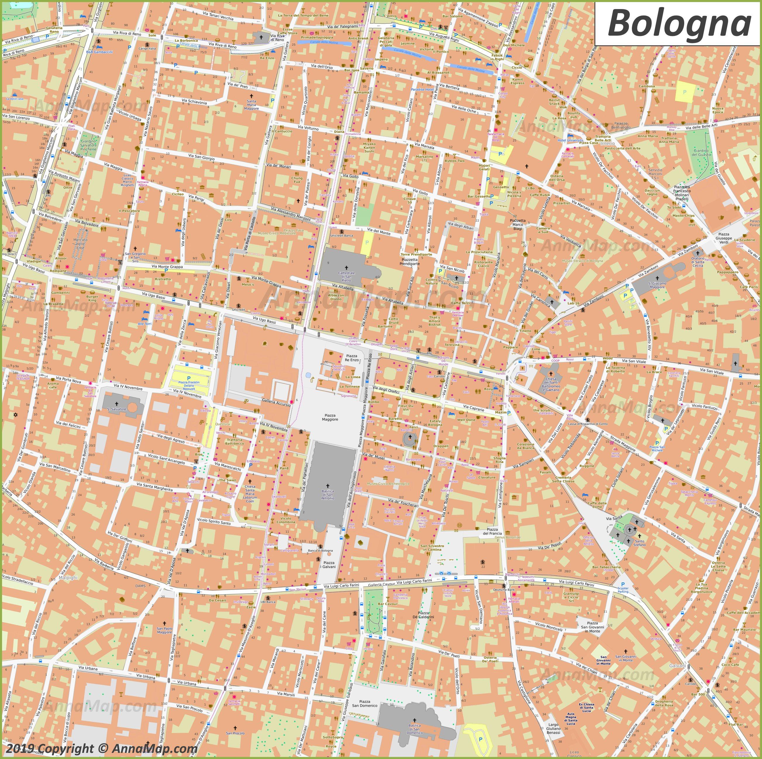 Mappa Bologna Cartina.Detailed Tourist Maps Of Bologna Italy Free Printable Maps Of Bologna Annamap Com