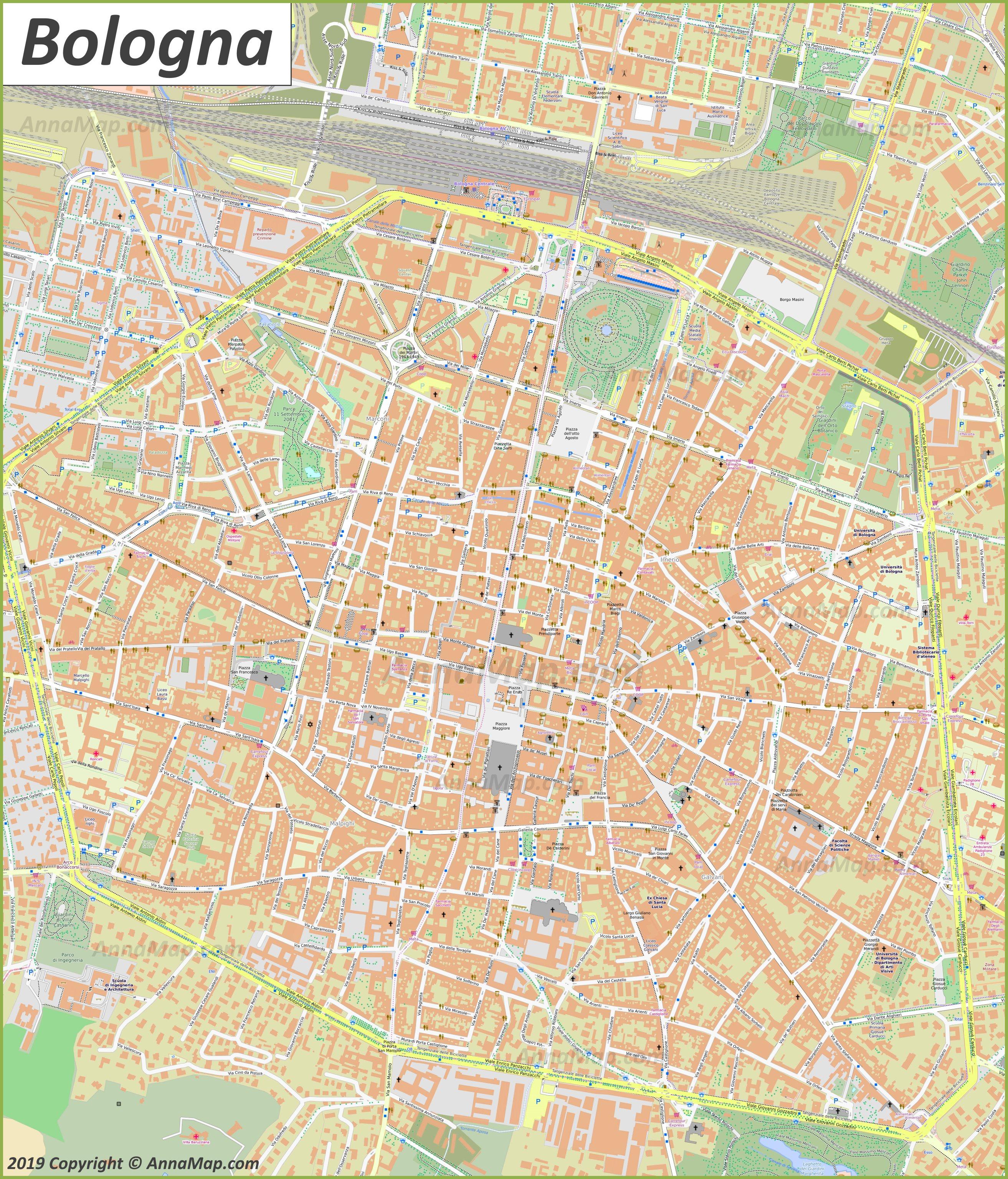 Detaillierte Touristische Stadtplan Von Bologna Italien