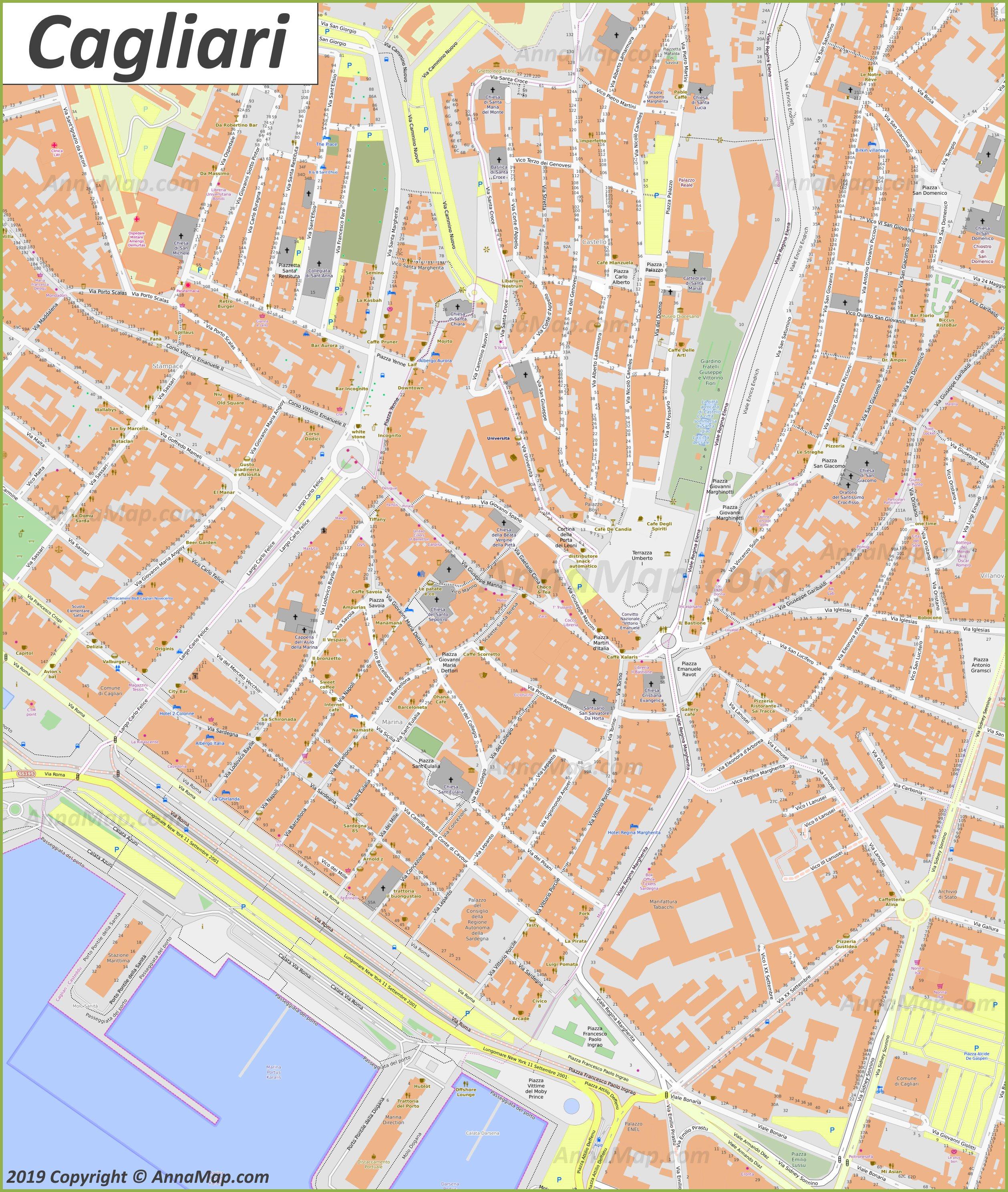 Detailed tourist maps of Cagliari | Italy | Free printable ...