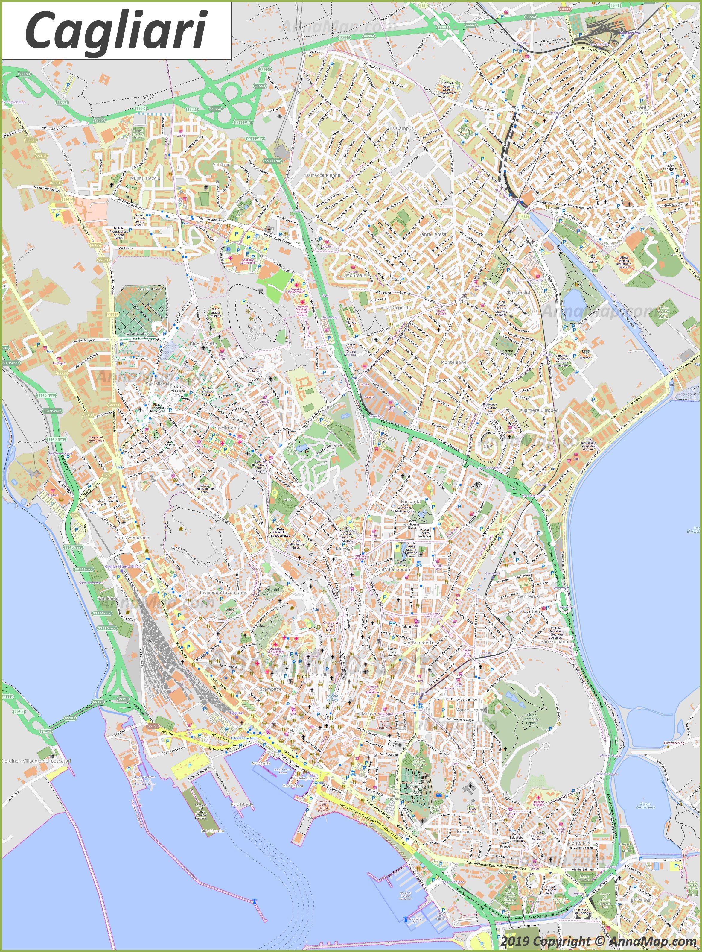Cartina Geografica Di Cagliari.Mappe Turistiche Dettagliate Di Cagliari Italia Mappe Stampabili Gratuite Di Cagliari Annamappa Com