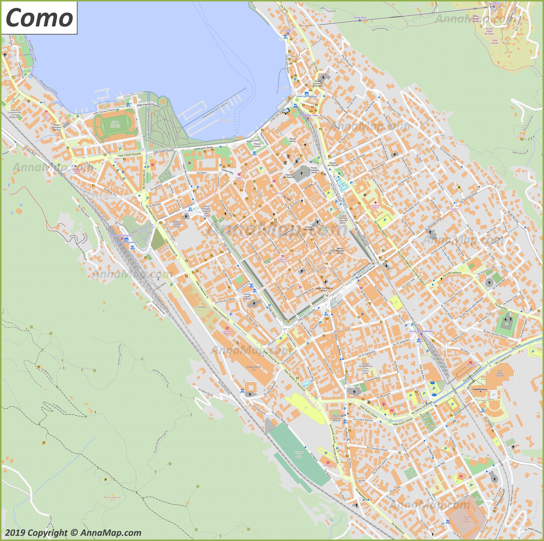 Detaillierte Touristische Stadtplan Von Como Italien