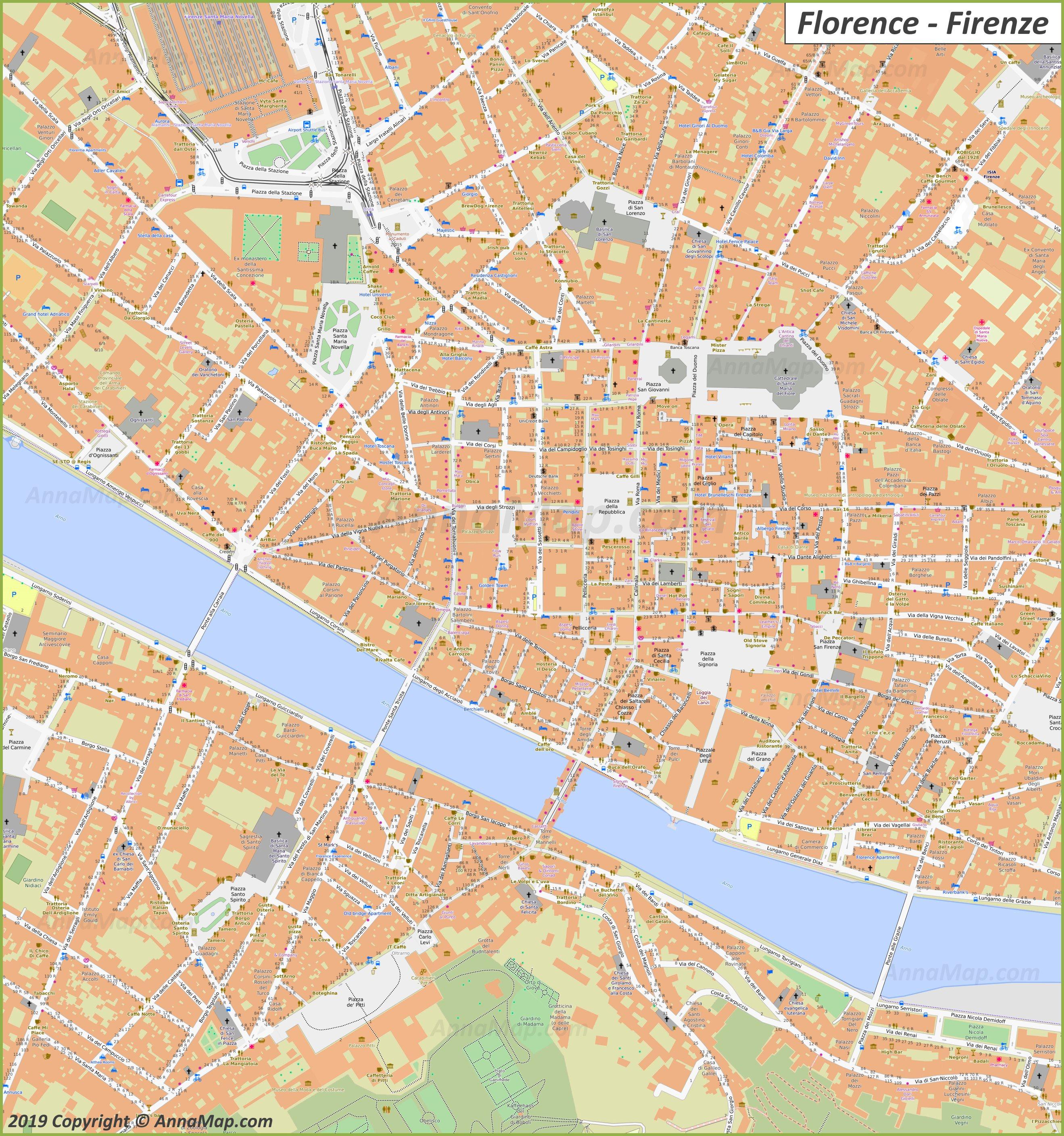 Firenze Cartina Centro Storico.Mappe Turistiche Dettagliate Di Firenze Italia Mappe Stampabili Gratuite Di Firenze Annamappa Com