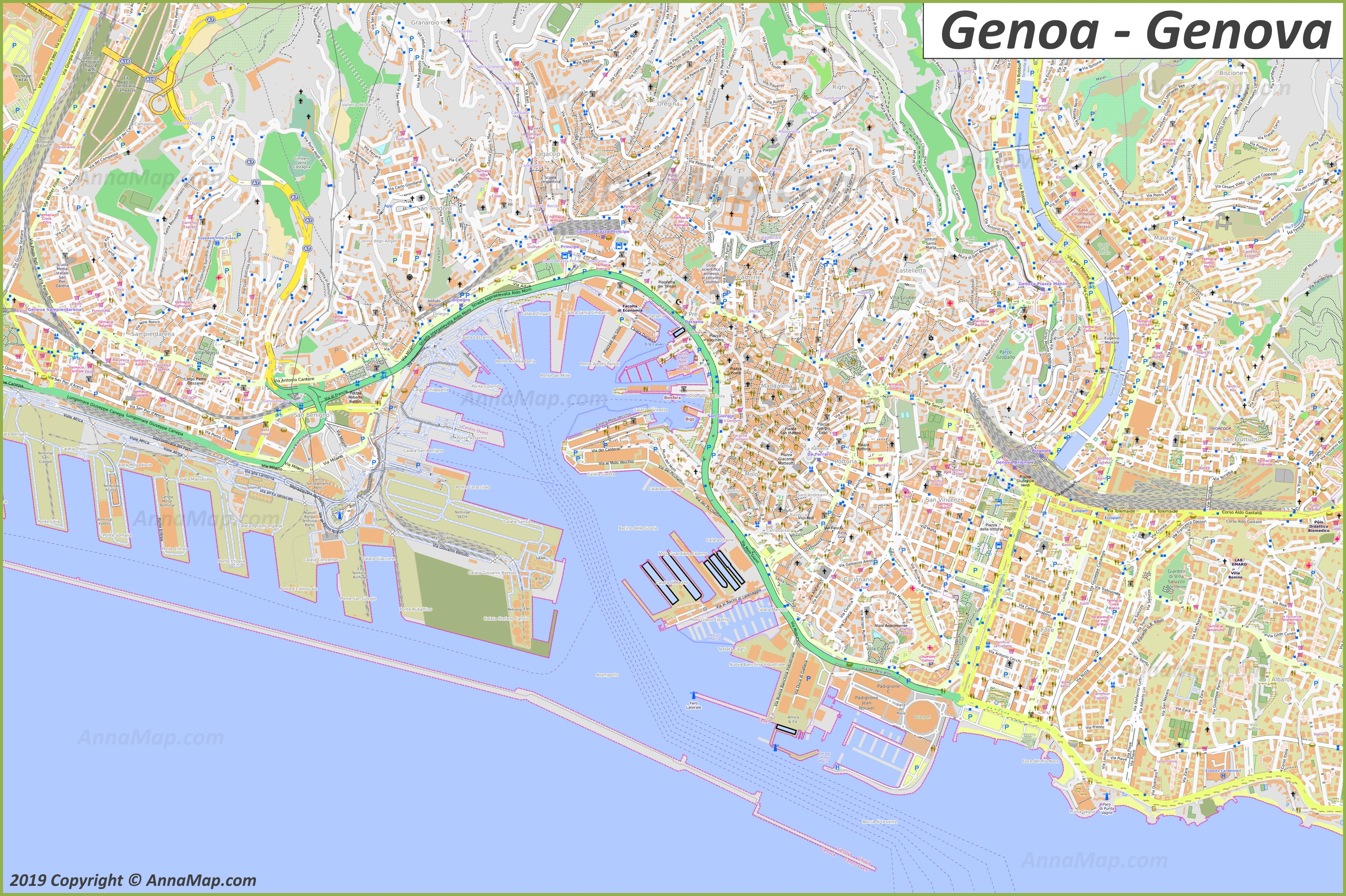Cartina Toscana Dettagliata Da Stampare.Mappe Turistiche Dettagliate Di Genova Italia Mappe Stampabili Gratuite Di Genova Annamappa Com