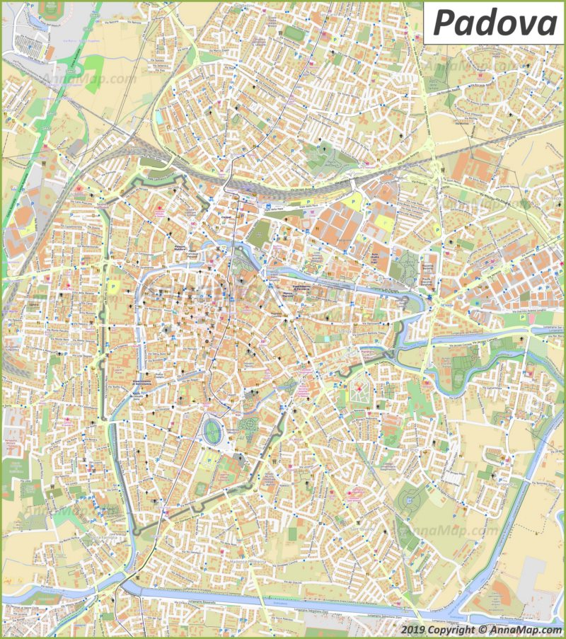 Detailed tourist map of Padova
