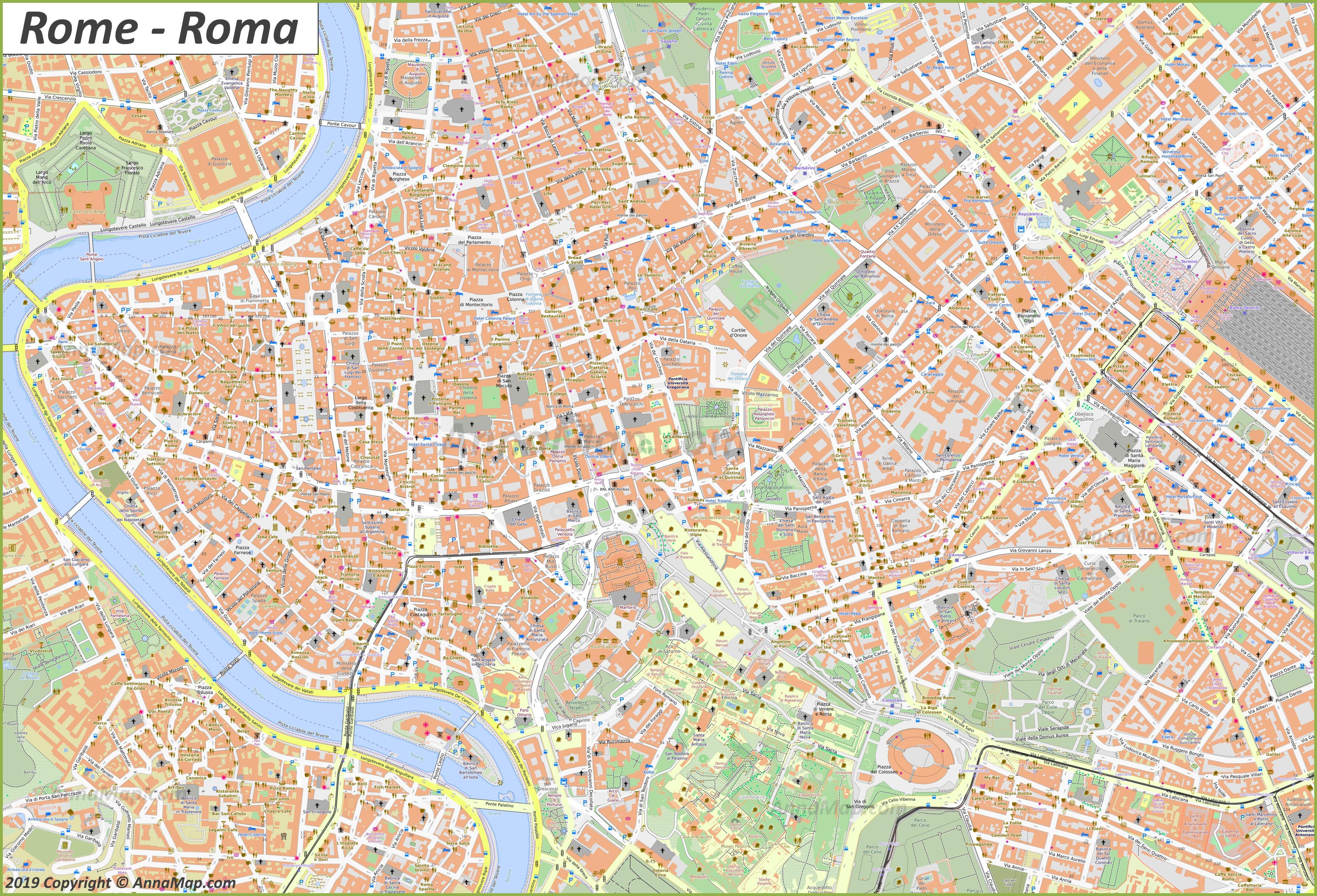 Roma Centro Cartina.Mappe Turistiche Dettagliate Di Roma Italia Mappe Stampabili Gratuite Di Roma Annamappa Com