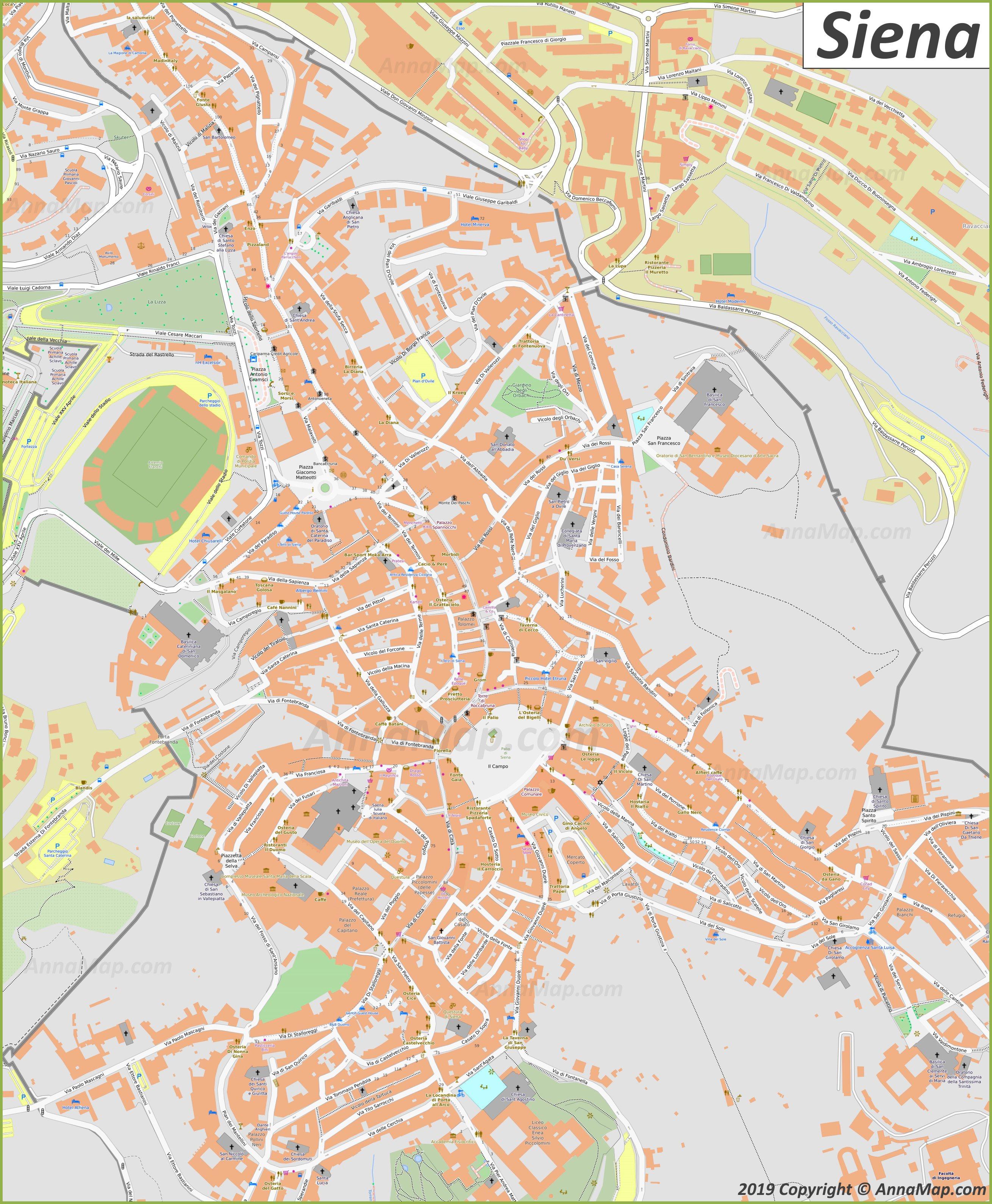 Detaillierte Touristische Stadtplan Von Siena Italien