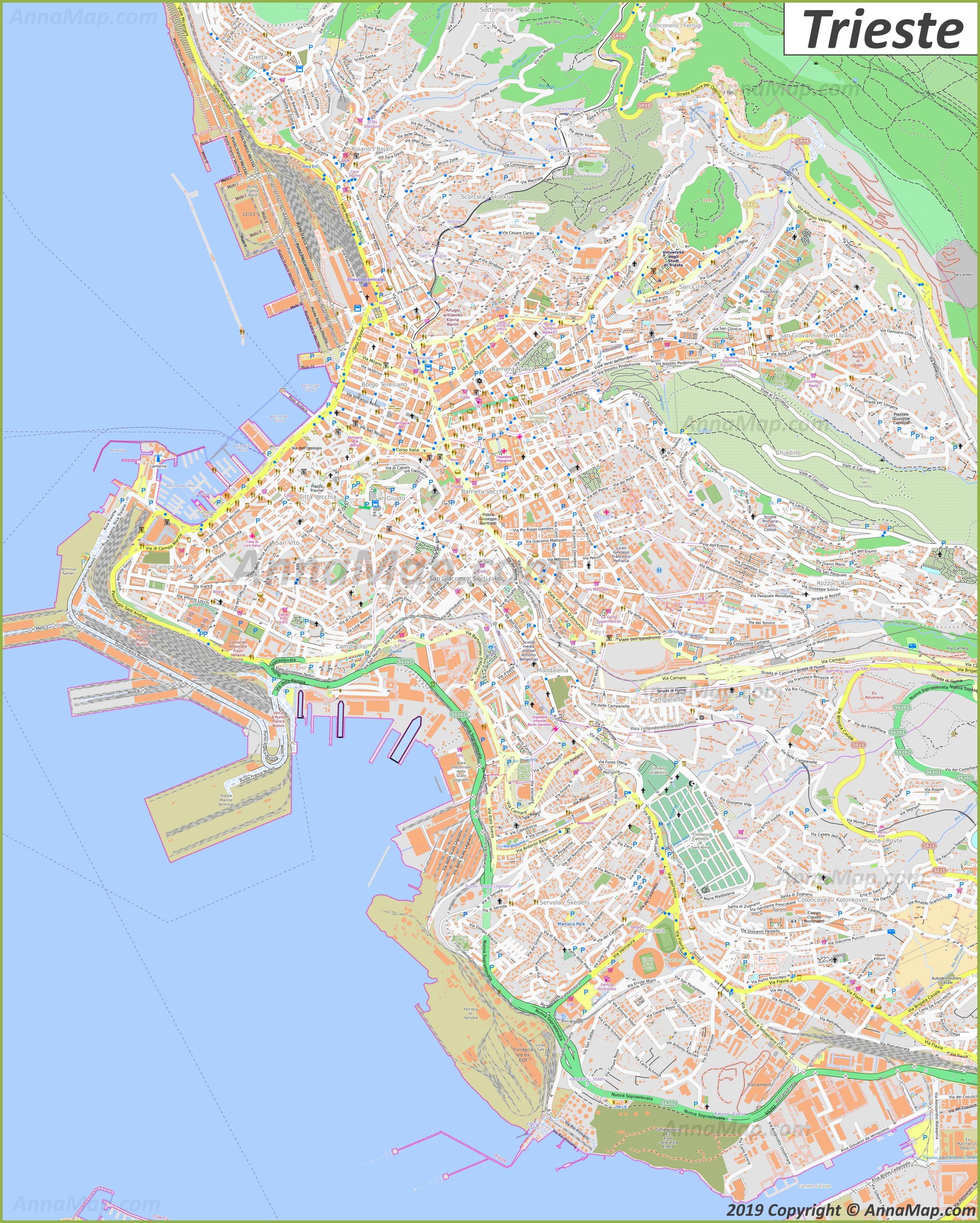 Detaillierte Touristische Stadtplan Von Triest Italien
