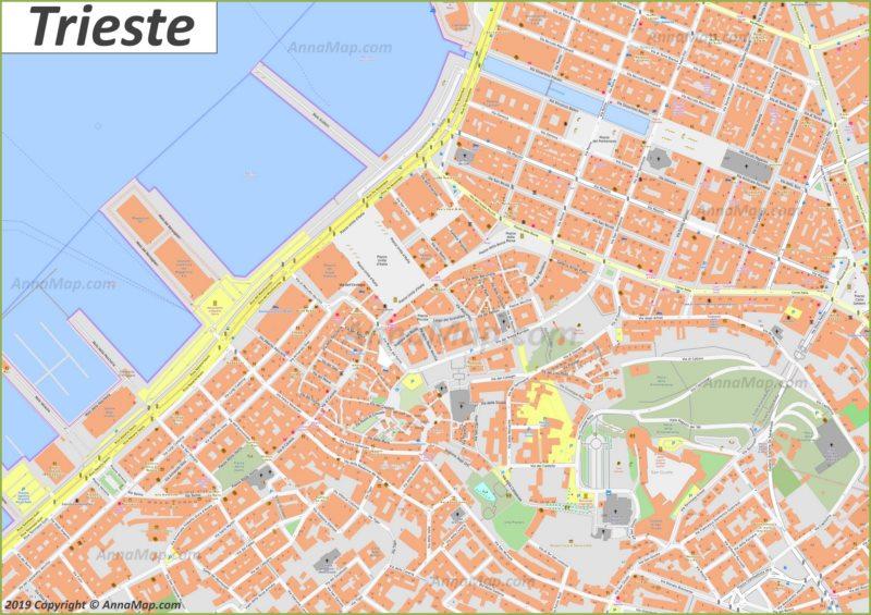Mappe turistiche dettagliate di Trieste | Italia | Mappe ...