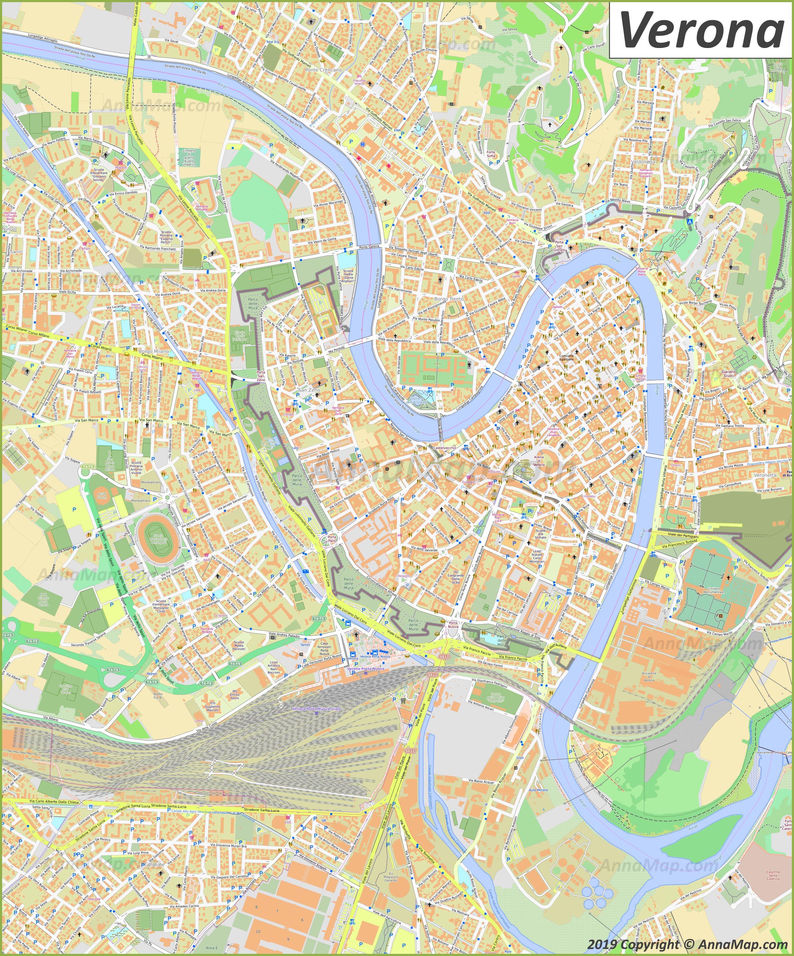 Mapa De Verona Italia.Mapas Turisticos Detallados De Verona Italia Mapas Gratis De Verona Para Imprimir Annamapa Com