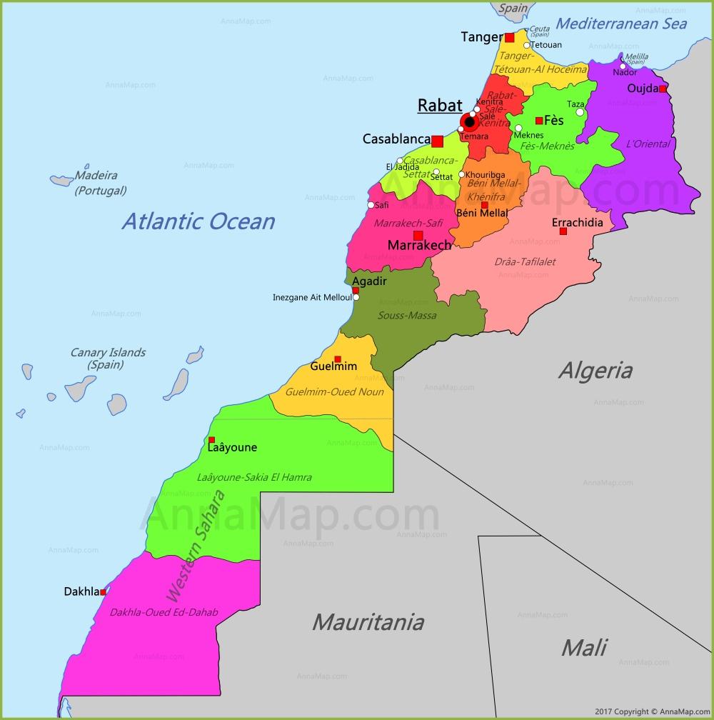Map Of Morocco Morocco Map | Map of Morocco   AnnaMap.com Map Of Morocco