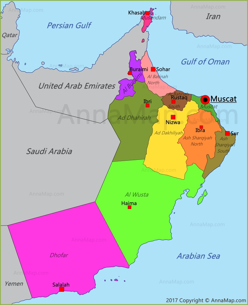 Map Of Oman Oman Map | Map of Oman   AnnaMap.com