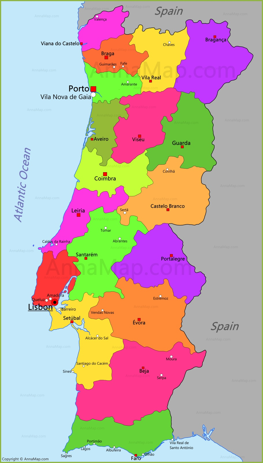 Portugal Map | Map of Portugal - AnnaMap.com