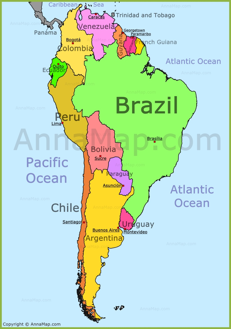 Map Of South America South America Map   AnnaMap.com Map Of South America