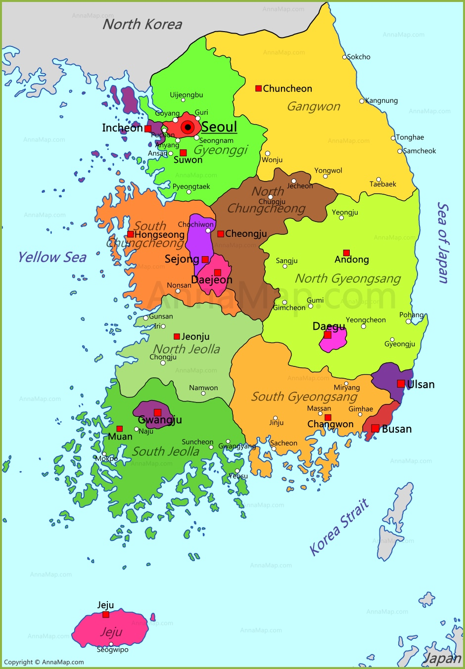 Map Of South Korea South Korea Map | Map of South Korea   AnnaMap.com Map Of South Korea