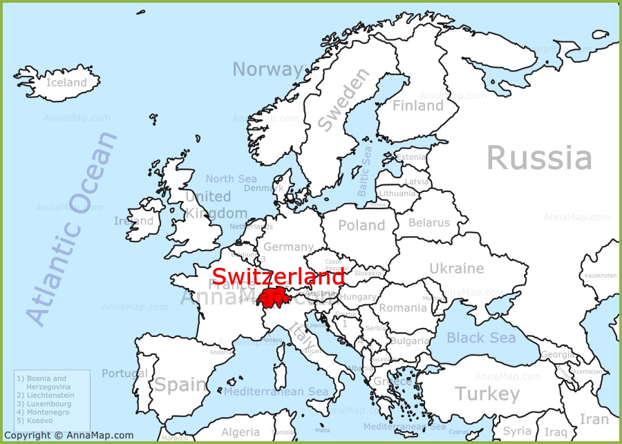 Switzerland Map Europe Switzerland on the Europe map   AnnaMap.com