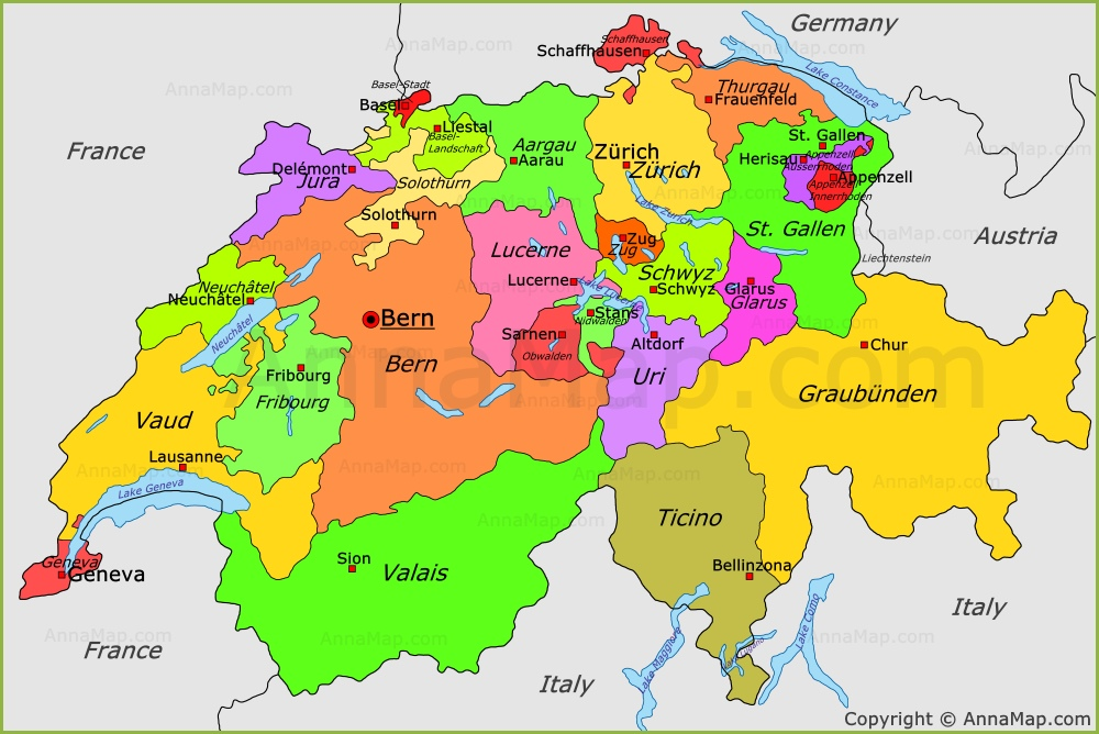 Switzerland On A Map Switzerland political map | Switzerland cantons map   AnnaMap.com