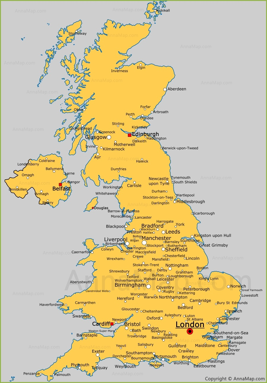 Uk Cities Map United Kingdom cities map | Cities and towns in UK   AnnaMap.com