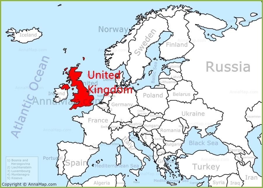 united kingdom on map of europe United Kingdom On The Europe Map Annamap Com