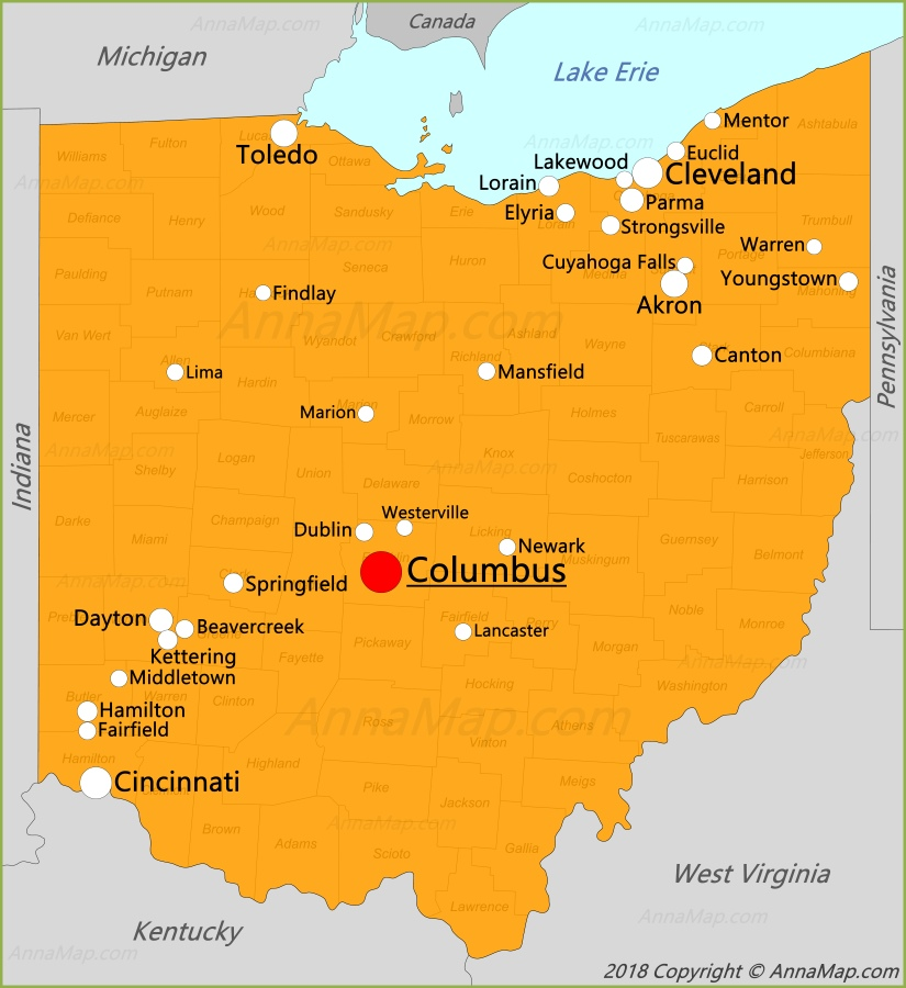 Ohio | Capital, Population, Facts, Maps, & Points of ... |Ohio State Capital Map